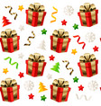christmas seamless pattern with presents isolated vector image