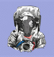 cow in astronaut suit 2021 year hand drawn art vector image