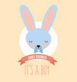 cute blue rabbit face its a boy invitation card vector image vector image