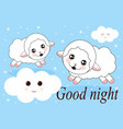cute hand draw icon of two juming sheep concept vector image