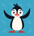 cute penguin standing with raised wings vector image vector image
