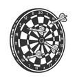 darts in dartboard sketch engraving vector image