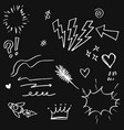 doodle set elements white on black background vector image vector image