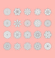 doodle white flowers set on pink background vector image