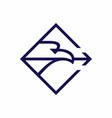 eagle hold arrow in beak rhombus shape emblem vector image