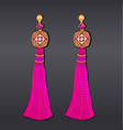 earrings from beads purple gems and gold vector image vector image