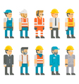 Flat design construction workers set vector image vector image