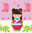 floral decoration chinese lanterns and japanese vector image