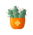 flowering plant in orange bowl isolated on white vector image