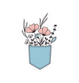 flowers in pocket vector image vector image