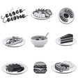 food icon set gray vector image vector image