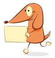 Funny Dog bringing a blank sign vector image vector image