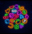 gaming neon icons for casinos vector image vector image