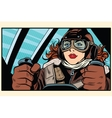 Girl retro pilot on the plane vector image vector image