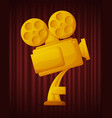 golden trophy camera best movie award vector image