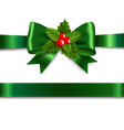 green ribbon bow with holly berry white background vector image vector image