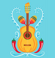 guitar maracas red chili pepper mexican print vector image vector image
