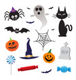 halloween elements icons set vector image