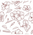 hand drawn hibiscus seamless pattern vector image vector image