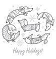 happy holiday card witn contour dachshunds in vector image