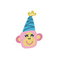 head monkey with party hat flat hand drawn vector image vector image