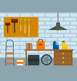 home car garage background flat style vector image