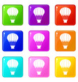 hot air balloon with basket icons 9 set vector image vector image