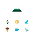 icon flat ecology set of butterfly mountain sun vector image vector image