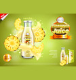 juice ads bottle with pineapple slices and vector image