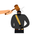 legal punishment of criminal character hammer of vector image