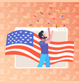 man with usa flag celebrating 4th july in web vector image vector image