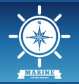 marine emblem design with ship wheel and rose wind vector image