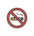 no smoking sign flat color line icon vector image
