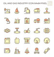 oil and gas industry icon set design 64x64 pixel vector image vector image