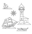 outline marine set lighthouse and sail vector image vector image