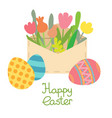 paper mail envelopeeaster egg and flowers vector image