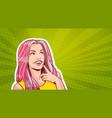 pop art portrait beautiful woman with long pink vector image