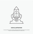 rocket spaceship startup launch game icon line vector image