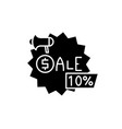 sales black icon sign on isolated vector image vector image