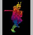 samurai warrior action japanese fighter cartoon vector image vector image