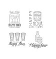set of 4 promotion signs for cocktail bar vector image