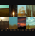Set of blurred backgrounds nature vector image vector image