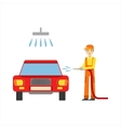 Smiling Mechanic Washing The Car In The Garage vector image