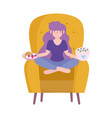 stay at home girl sitting on chair with food in vector image