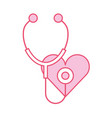 stethoscope medical with heart vector image vector image