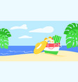 summer vacation beach bag tropical leaves seascape vector image