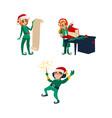 three christmas elves santa little helpers vector image