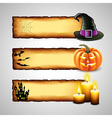 Three horizontal Halloween banners from paper vector image vector image