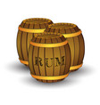 three wooden barrels with label rum vector image