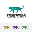 tiger origami logo vector image